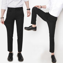 TOMONARI - Band-Waist Slim-Fit Dress Pants