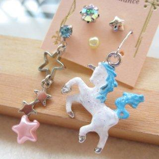 Fit-to-Kill - Dazzling white unicorn with little stars earrings