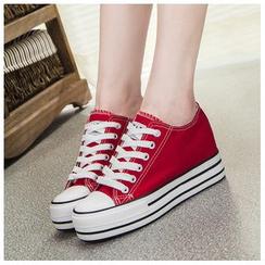 EUNICE - 內增高厚底帆布鞋