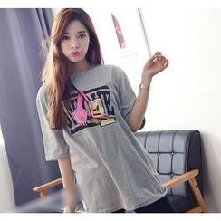 Love Seoul - Excavator Print Round-Neck T-Shirt