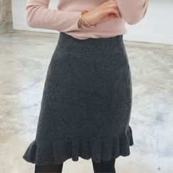 Seoul Fashion - Asymmetric Frill-Hem Knit Skirt
