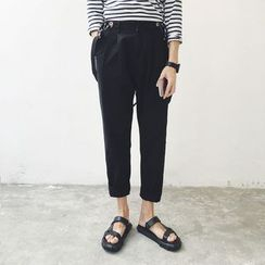 Etoile - Pleated Cropped Suspender Pants