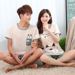 SOVINEER - Couple Matching Pajama Set: Cartoon Print Short-Sleeve T-Shirt + Star Print Shorts