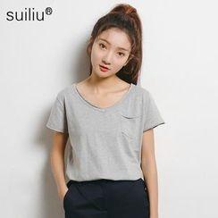 GoFlow - Short-Sleeve V-Neck Plain T-Shirt