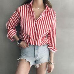 NANING9 - Dip-Back Stripe Cotton Shirt