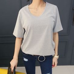 DANI LOVE - Round-Neck Plain T-Shirt