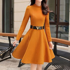 Romantica - Wool Blend Long-Sleeve Belted Dress