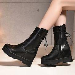 Gizmal Boots - Hidden Wedge Platform Mid-Calf Boots