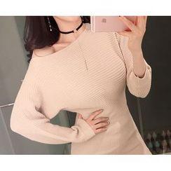 Marlangrouge - Dolman-Sleeve Ribbed Mini Dress