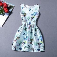 Flobo - Sleeveless Printed Satin Dress