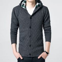 JEUX - Hooded Knit Cardigan