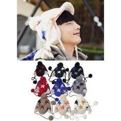 JOGUNSHOP - Pom-Pom Star Print Knit Hat