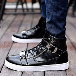 HANO - Side Zip High Top Lace Up Sneakers