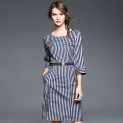 Ozipan - Elbow-Sleeve Striped Dress