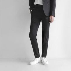 Seoul Homme - Flat-Front Slim-Fit Dress Pants