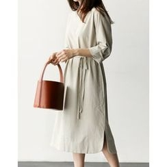 UPTOWNHOLIC - 3/4-Sleeve Cotton Dress With Sash