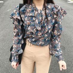 small dots - Floral Print Long-Sleeve Blouse