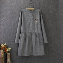 Blue Rose - Deer Embroidered Long-Sleeve Dress
