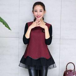 AiSun - Mesh Hem Long Sleeve Tunic
