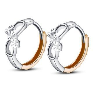 MaBelle - 14K Italian Rose And White Gold Two Tone Tiny 8mm Infinity Symbol Promise Huggie Earrings