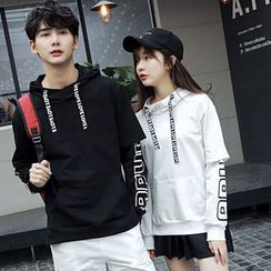Je T'aime - Couple Matching Lettering Mock Two-Piece Hoodie