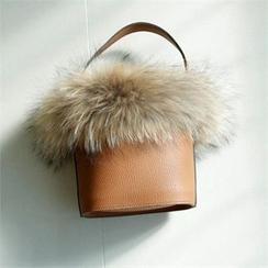 YOOM - Faux Fur-Trim Tote