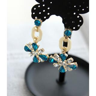 Petit et Belle - Faux Jeweled Flower Drop Earrings