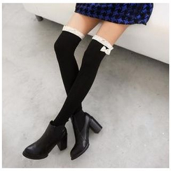 59 Seconds - Bow-Accent Lace Panel Socks
