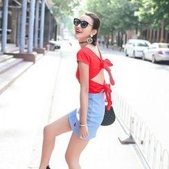 Tang House - Short-Sleeve Open Back T-Shirt