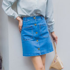 AiLiTi - Buttoned Denim Skirt
