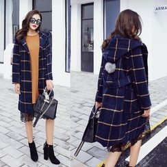 Ekim - Plaid Hooded Long Coat