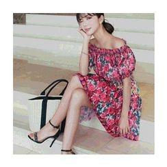 migunstyle - Off-Shoulder Floral Print Minidress