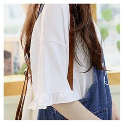 Sechuna - Drop-Shoulder Frill-Detail Top
