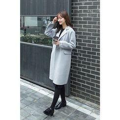 CHERRYKOKO - Notched-Lapel Wool Blend Coat