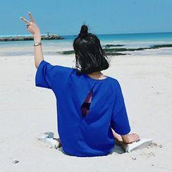 氣質淑女 - 短袖鏤空後寬鬆T恤
