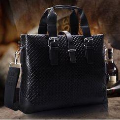 ROI - Genuine-Leather Woven Briefcase