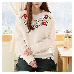 Sechuna - Embroidered Brushed Fleece Top