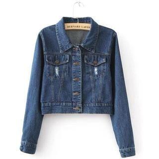 JVL - Distressed Cropped Denim Jacket
