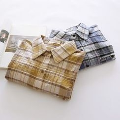 Bonbon - Elbow-Sleeve Plaid Shirt