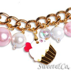 Sweet & Co. - Mini Gold White Cupcake Swarovski Crystal Charm Bracelet