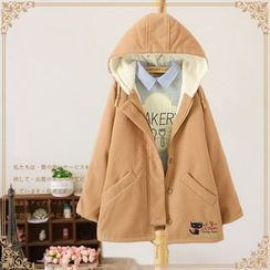 Vateddy - Cat Embroidered Hooded Coat