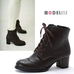 MODELSIS - Lace-Up Zip-Side Ankle Boots