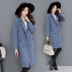Romantica - Notched-Lapel Double-Breasted Plain Coat