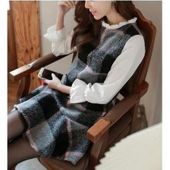 Dowisi - Inset Blouse Plaid Dress