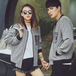 Evolu Fashion - Couple Matching Letter Baseball Jacket
