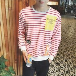 Bay Go Mall - Printed Striped Pullover