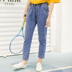 DK Yannie - Knee-Patch Slim-Fit Jeans