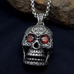 Trend Cool - Rhinestone Skull Pendant Necklace