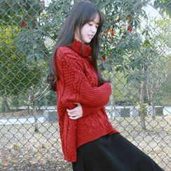 DK Yannie - Cable Knit Turtleneck Sweater