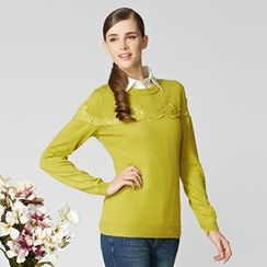 O.SA - Lace-Panel Long-Sleeve Knit Top